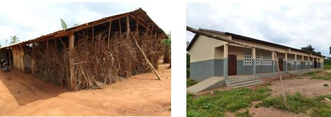 Die siebte Weitblick-Schule in Houdjamey im Vorher-Nachher Vergleich