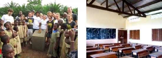 Links: Feierliche Grundsteinlegung in Kpogoudou. Rechts: Die zweite Schule steht