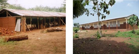 Vorher-Nachher Bild der ersten Grundschule in Benin