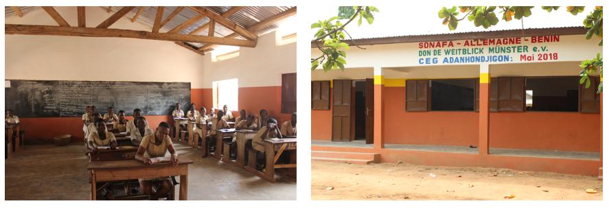 Schulklasse und Gebäude