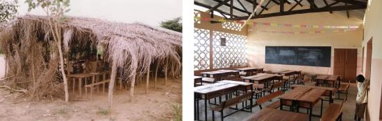 Die dritte fertiggestellte Schule im Vorher-Nachher Vergleich